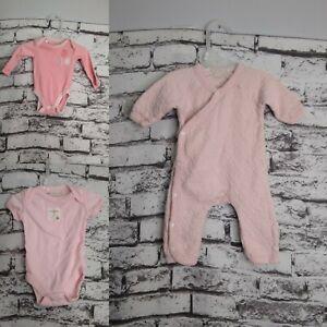 Burts-Bees-Preemie-Baby-Infant-Bodysuit-Romper-Bundle-Pink-Lot-of-Three-Ouftits