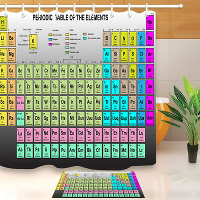 100/% Polyester Shower Curtain Bathmat Colorful Periodic Table of the Elements