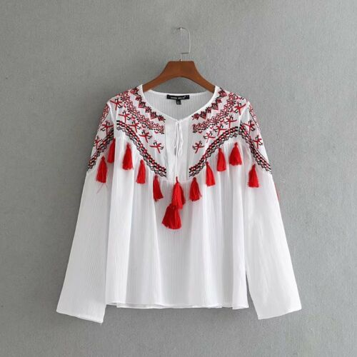 UK Womens Retro Floral Embroidered Tops Tassel T Shirts Mesh Sheer Blouses Gifts
