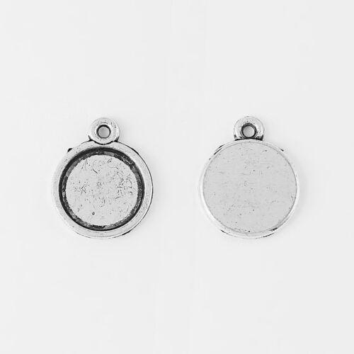 100 Anti-Silver Tiny 12mm Round Charm PENDANT TRAYS Blank Bezel//Cabochon Setting
