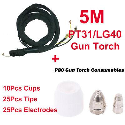 CNC Plasma Cutting Torch P80 5M /& 25Pcs Consumables Electrode Tip Accessories