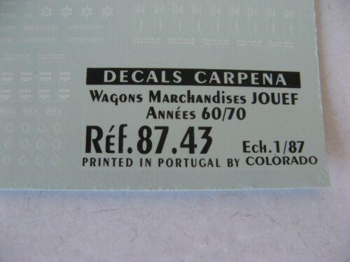 CARPENA DECALS WAGONS  MARCHANDISES JOUEF +RMA  HORNBY JOUEF ROCO FLEISCHMANN