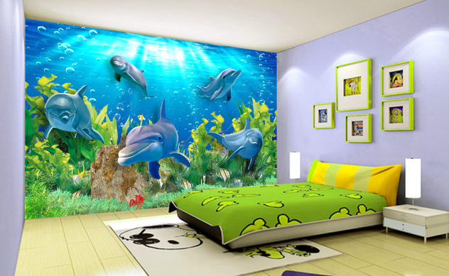3D Marine Dolphins 93 Wallpaper Mural Paper Wall Print Wallpaper Murals UK Carly