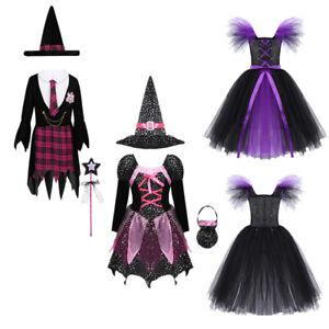 Fancy Dress Halloween Costume Black /& Silver Girl/'s Witch Tutu /& Headband