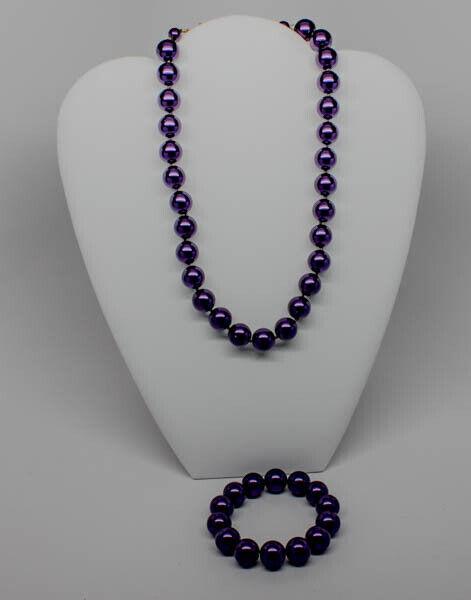 Blue statement necklace,multi strand denim blue statement plum necklace beaded necklace big violet  beads amethyst  statement jewelry