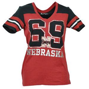 NCAA-Nebraska-Cornhuskers-V-Neck-Short-Sleeve-Tshirt-Tee-Red-Womens-Ladies-Sport