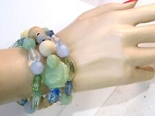 Set of 3 Buddha Faux Jade Ivory Faceted Plastic Blue Green stretch Bracelet 7d68