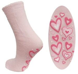 1 Pair Ladies Super Soft Non-Slip Thermal Socks, Light Pink Hearts, Size 4-5½