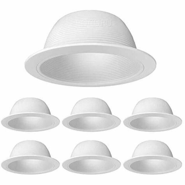 6 Pack White Baffle Metal Recessed Can Light Trim For Br30 38 40 Led