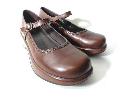 DANSKO US 10.5 11M Chocolate Brown Leather Mary Jane Platform Clogs Shoes BRAZIL | eBay