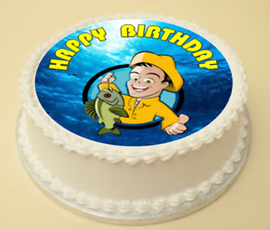 Pleasing Fishing Happy Birthday Cake Cupcake Topper Decoration Wafer Funny Birthday Cards Online Eattedamsfinfo