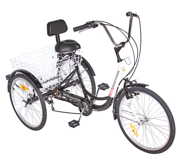 """Basket Backrest White TOP!! NEW 24/"""" 3 Wheel Adult Tricycle 6 Speed Bicycle"""