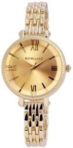 Excellanc-Damenuhr-Gold-Roemische-Ziffern-Analog-Metall-Armbanduhr-X180604000009