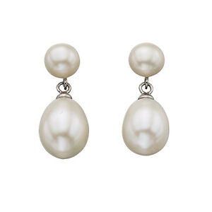 925-Sterling-Silver-Fresh-Water-Pearl-Double-Drop-Stud-Earrings