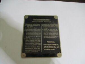 Nameplate DKW Motor Operating Instructions