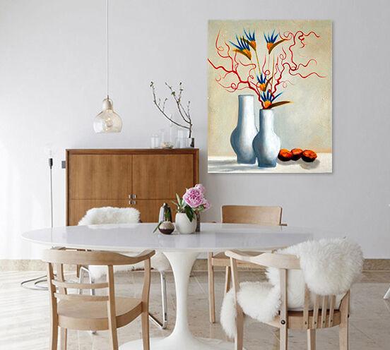 3D Vase, einzigartige Blaumen  Wandbild Fototapete Bild Tapete Familie AJSTORE DE