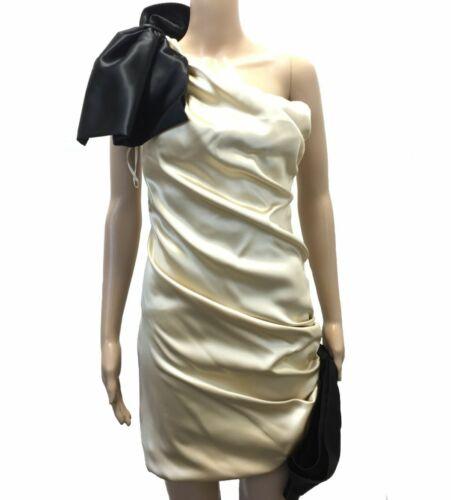$1240 Dolce /& Gabbana Women/'S Gold Black Bow Tie One Shoulder Sheath Dress 4//40