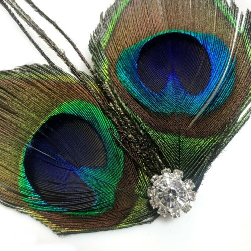 REAL Peacock Birds Feather Crystal Hair Clip Slide Races 1920s Blue Green 201
