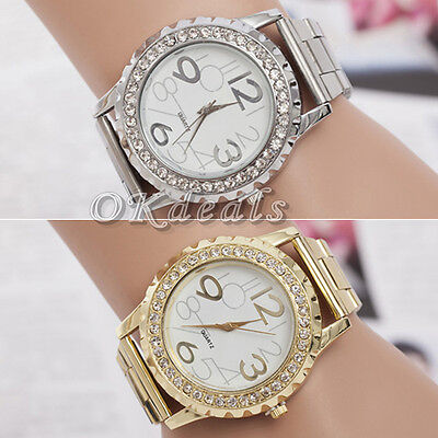 Women's Men's Crystal Rhinestone Alloy Stainless Steel Analog Quartz Wrist Watch