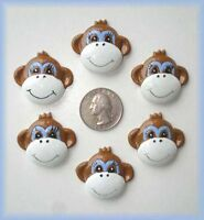6pc Funky Monkey Brown Resin Flat Back Flatback 4 Hairbow Bow Center