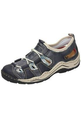 Rieker Sandalen Trekking Slipper Outdoor Schuhe blau 36 42