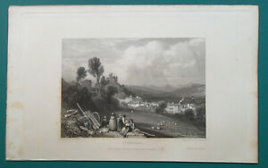 FRANCE-View-of-Aurillac-1833-Antique-Print-Engraving