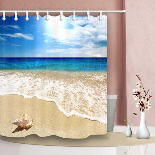 Blue sky seashell beach style Bathroom Shower Curtain Fabric w//12 Hooks 71*71in