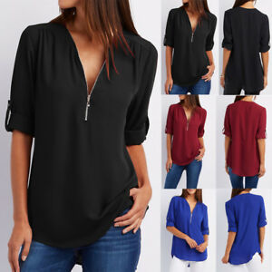 Women-Long-Sleeve-V-neck-Loose-Tops-T-Shirt-OL-Ladies-Plain-Casual-Zipper-Blouse