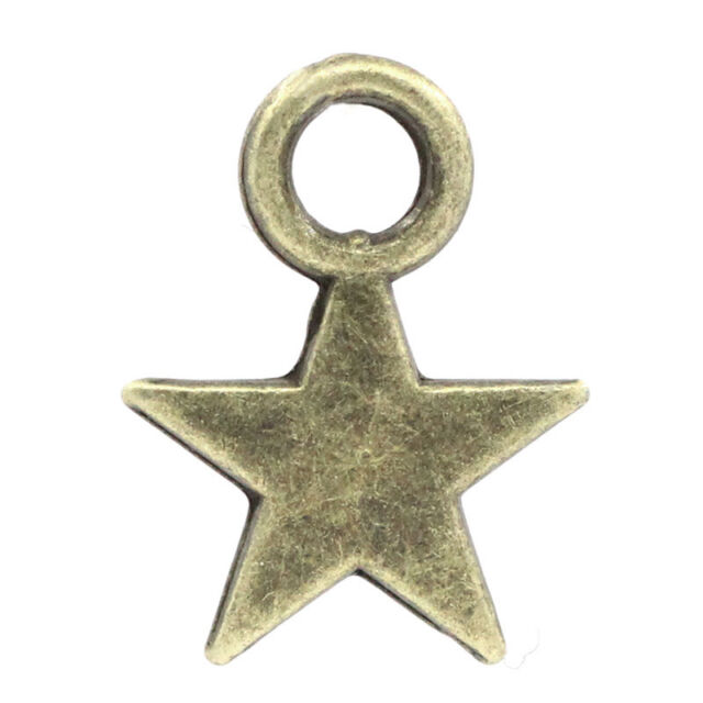 8 MM Antiqued Silver Flat and smooth Small Star Charm Pendants 150 PCS 11