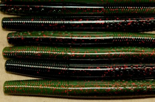 """4/"""" Finesse Stick Black Neon Watermelon Red Ned Rig Type Floating Worm 50 pack"""