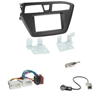 Hyundai i20 ab 2014 Doppel 2-DIN Radio Blende+Fach+ISO Adapter+Antenne Stecker