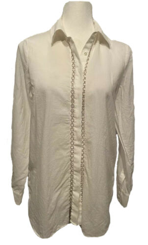 Haute Hippie White Blouse Shear Embellished Silver