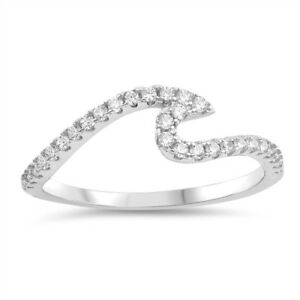 Clear Cubic Zirconia Half Way Wave Band Ring Sterling Silver