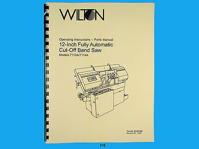 Painstaking Wilton Model 7112a 7114a Horiz Cut Off Band Saw Op Instruct &parts Manual *316 Refreshing And Beneficial To The Eyes Business & Industrial