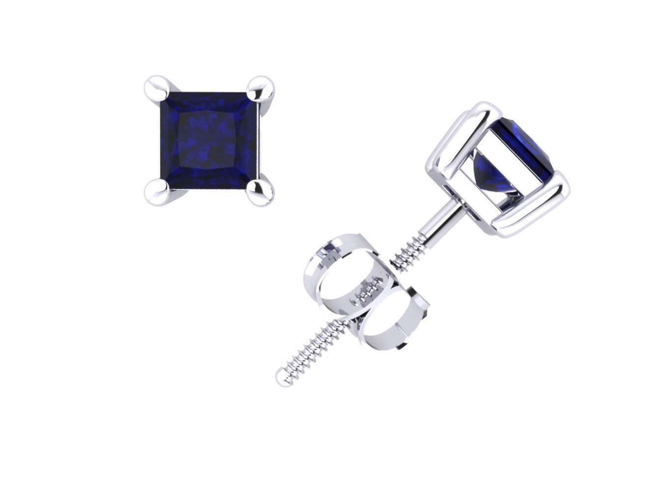 0.75Ctw Princess bluee Sapphire Basket Stud Earrings 14Karat gold Prong Setting