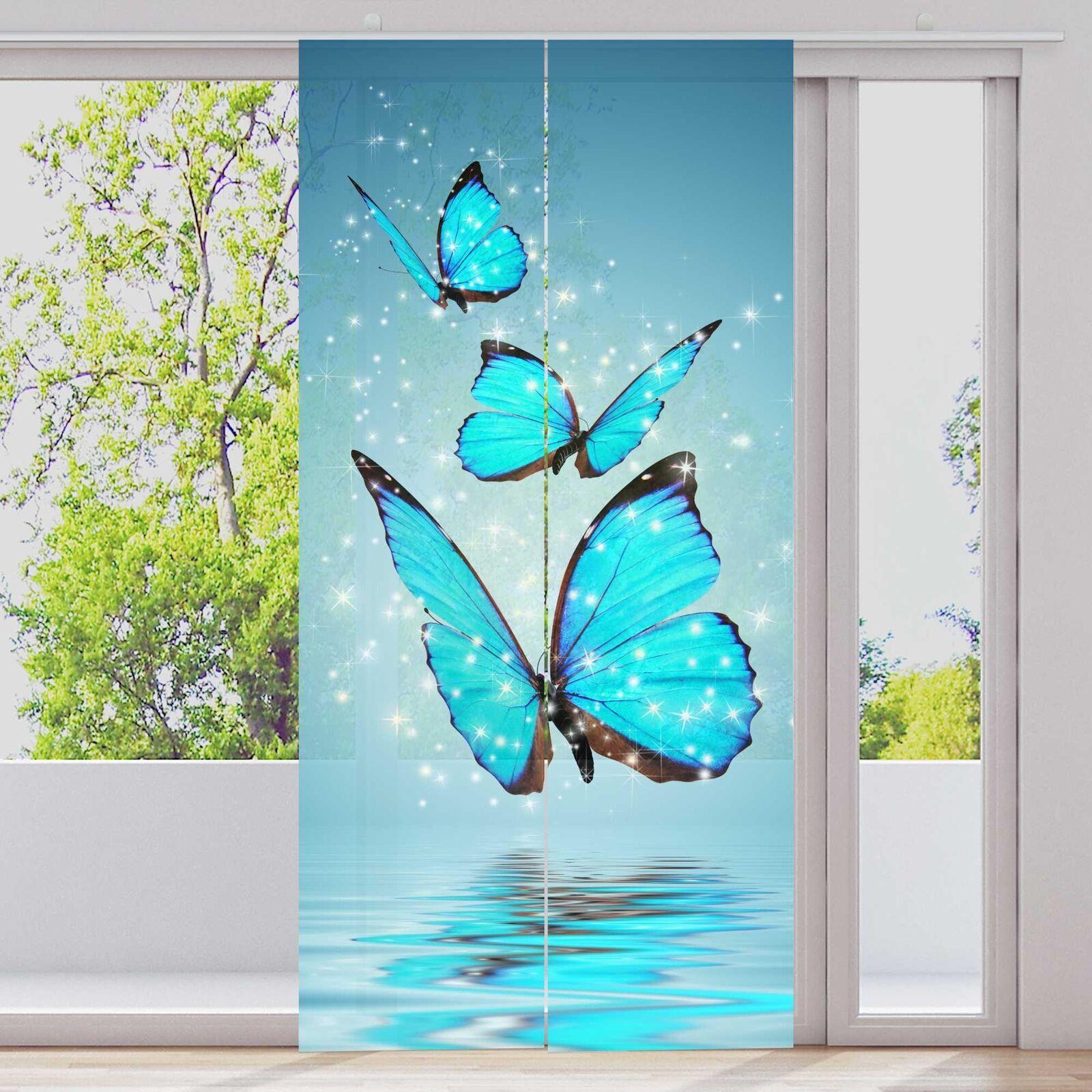 Cortina de paneles 2-piezas cuanto 60x245cm tupido motivo  azules mariposas