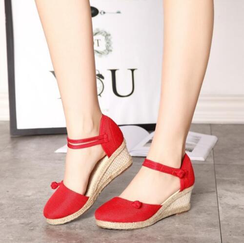 Retro Women Ethnic Wedge Mid Heel Sandals Ankle Strap Espadrille Round Toe Shoes