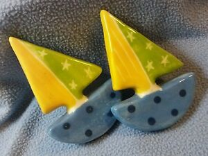 """So Cute! Large Ceramic Sailboat Cabinet Knobs~ Over 4"""" tall!!"""