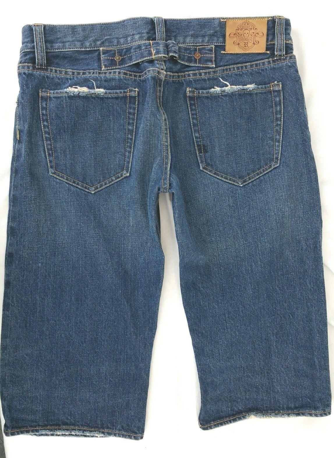 Ralph Lauren Rugby Denim Jean Bermuda Shorts 100% Cotton bluee Distressed Mens 29