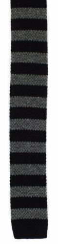 Block Stripe Skinny Acrylic /& Cotton Knitted Tie