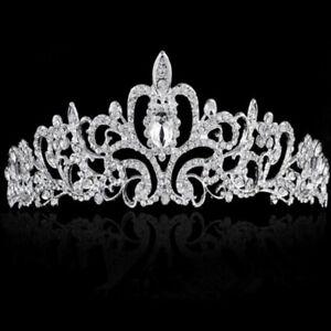 Bridal-Princess-Rhinestone-Crystal-Hair-Tiara-Wedding-Party-Crown-Veil-Headband