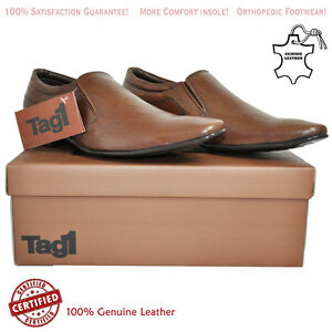 Details about Mens Leather Slip On Formal Shoes Brown Color