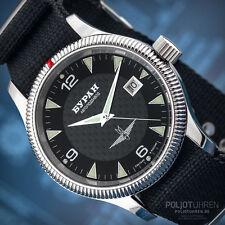 BURAN Automatic 2824-2 Russian mechanical watch 2824/6503720 Carbon Fliegeruhr