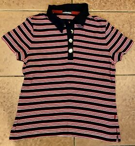 Austin Reed Casual Polo Shirt Top T Shirt Red White Blue Stripe Ladies M Ebay