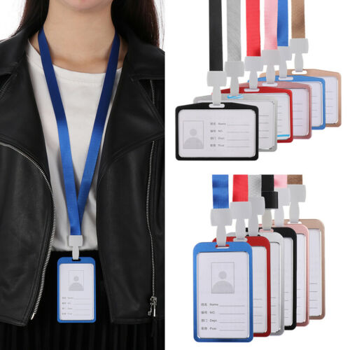 Aluminum Credit ID Card Badge Tag Holder Cover Case with Neck Strap Lanyard
