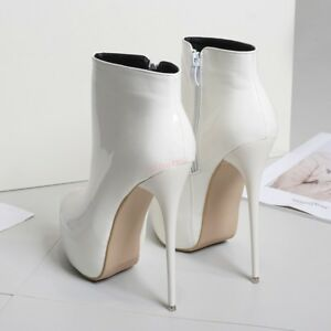 Womens-Stilettos-Super-High-Heels-Platform-Patent-Leather-Boots-Fashion-2018-New