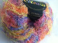 Plymouth Coloura Metallic Sparkle Long Eyelash Yarn 619 Pink Orange Yellow Blue