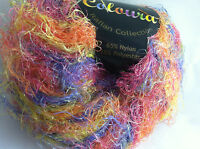 Plymouth Coloura Metallic Sparkle Long Eyelash Yarn 619 Pink Orange Yellow Blue