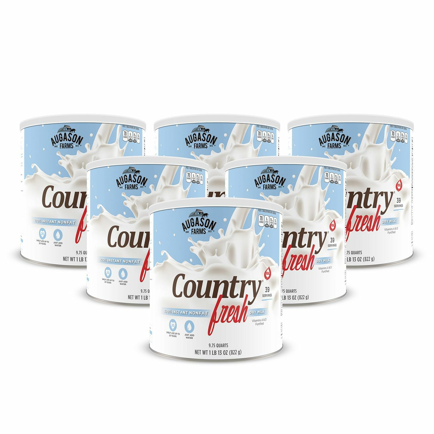 Augason Farms  6 pk Dry Milk Country Fresh Instant 100% Nonfat - Large cans