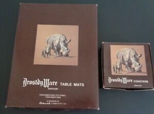 DROSTDY-WARE-Grahamstown-African-Safari-Animals-Table-Mats-6-amp-Coasters-6